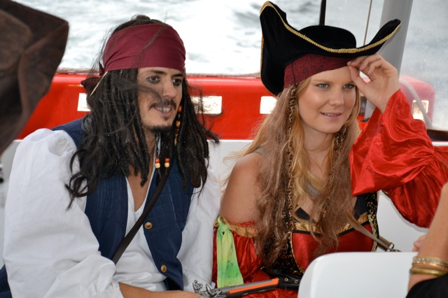 Captain Jack Sparrow aboard water taxi Treasure Hunt on Sydney Harbour