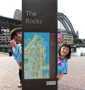 Sydney, The Rocks Treasure Hunt Team searching for pirate clues at Sydney Harbour Bridge