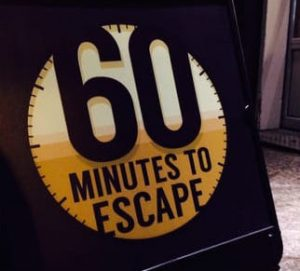 60 minute team building escape treasure hunts sign