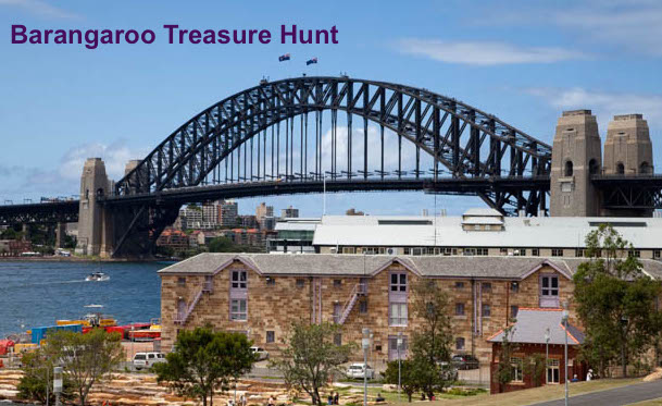 Barangaroo activities treasure Hunt by Sydney Harbour with spectacular Harbour Bridge views.