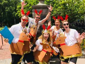 Staff Dress Uop as reindeers Finding Santa Treaure Hunt activities for incredible fun work parties and team events that bring a smile
