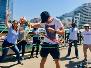 Treasure Hunt activities and Hula Hooping Go Hand in Hand along Pyrmont Bridge for all groups